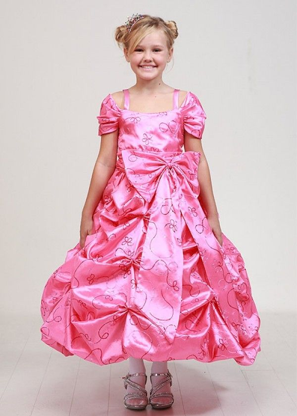 20bf126c1bd Adele  Pink Flower Girl Dress with Princess Embroidery
