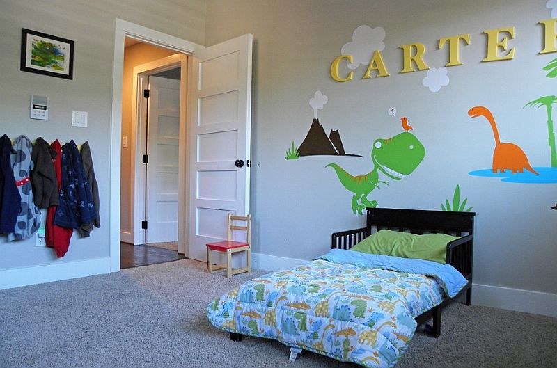 Kids Bedrooms With Dinosaur Themed Wall Art And Murals Kids