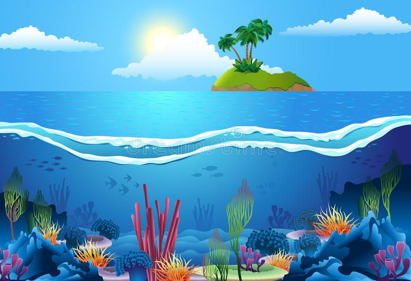 Sea Landscape Vector Sea Landscape With Island And Coral In Deep Water Aff Vector Landscape Sea Islan Underwater Plants Water Images Water Design