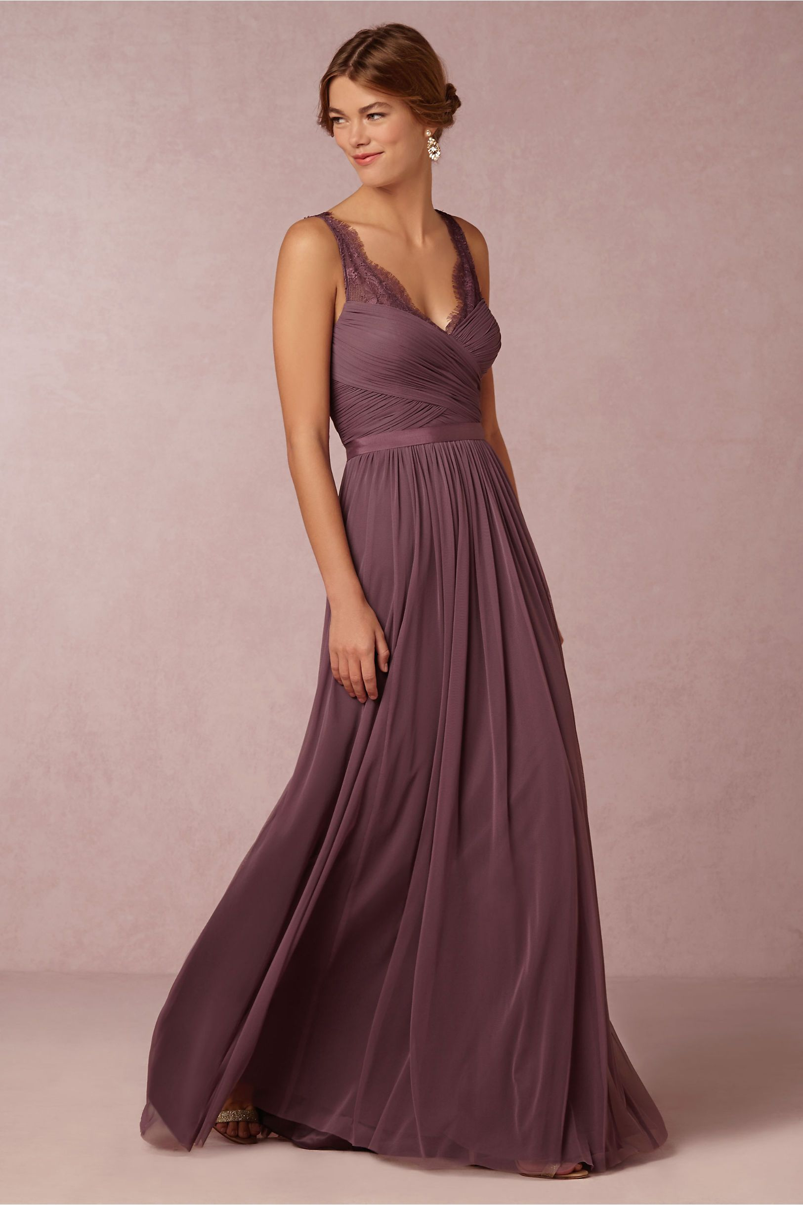 398d063d684 Fleur Dress in Bridesmaids Bridesmaid Dresses Long at BHLDN. Vintage Lace  Straps Pleated Long Chiffon Eggplant ...