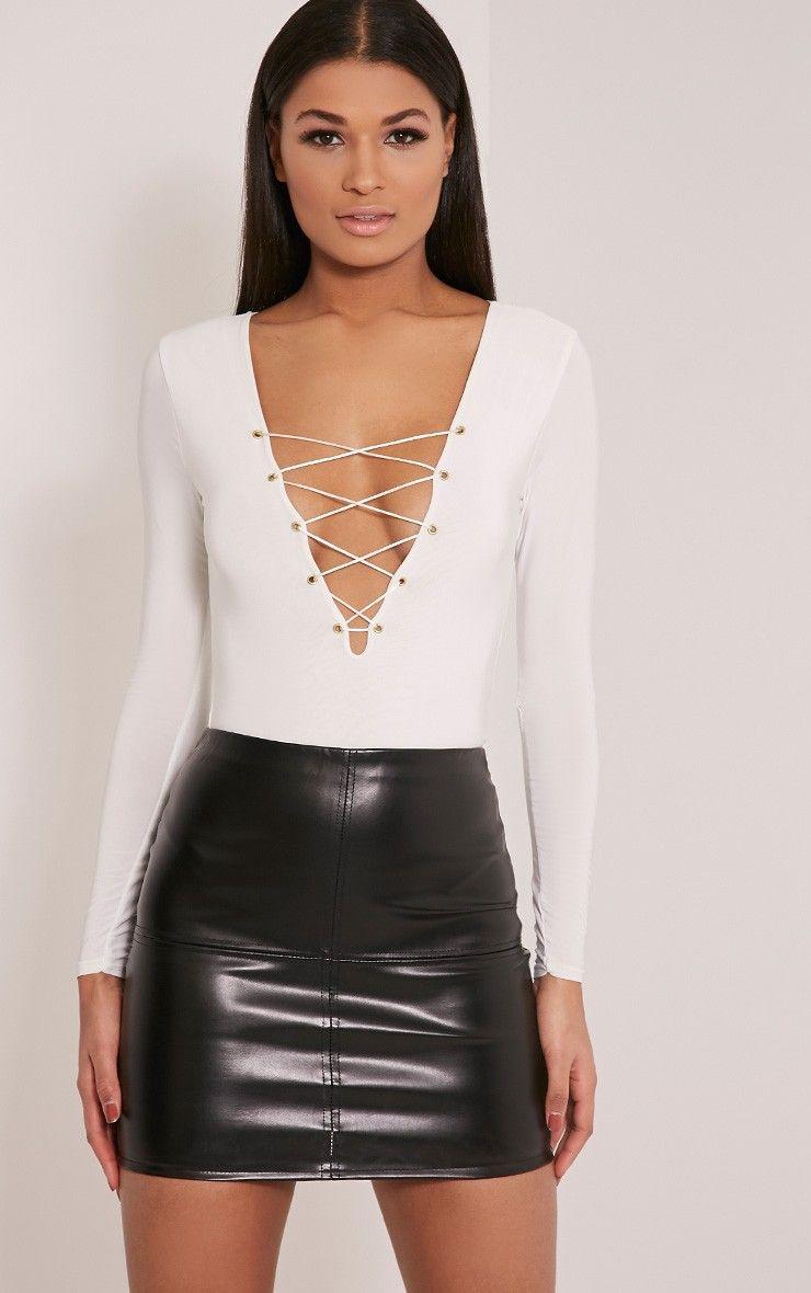 b0fb3228f Kitanna White Lace Up Bodysuit | PRETTYLITTLETHING | Mini skirt ...