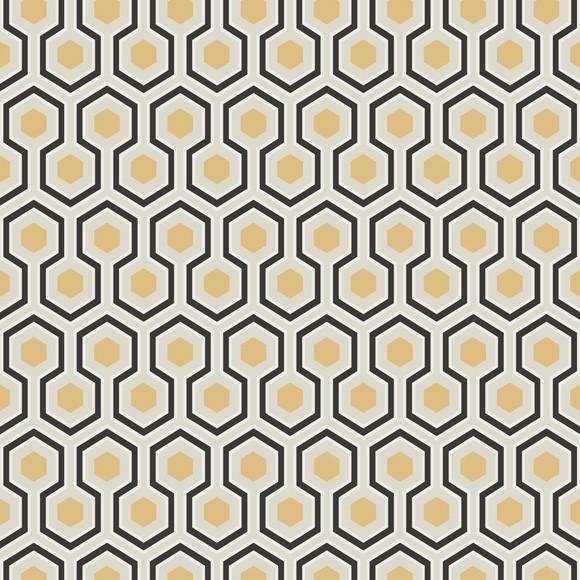 Papier peint dorée et noir – Hicks Hexagon