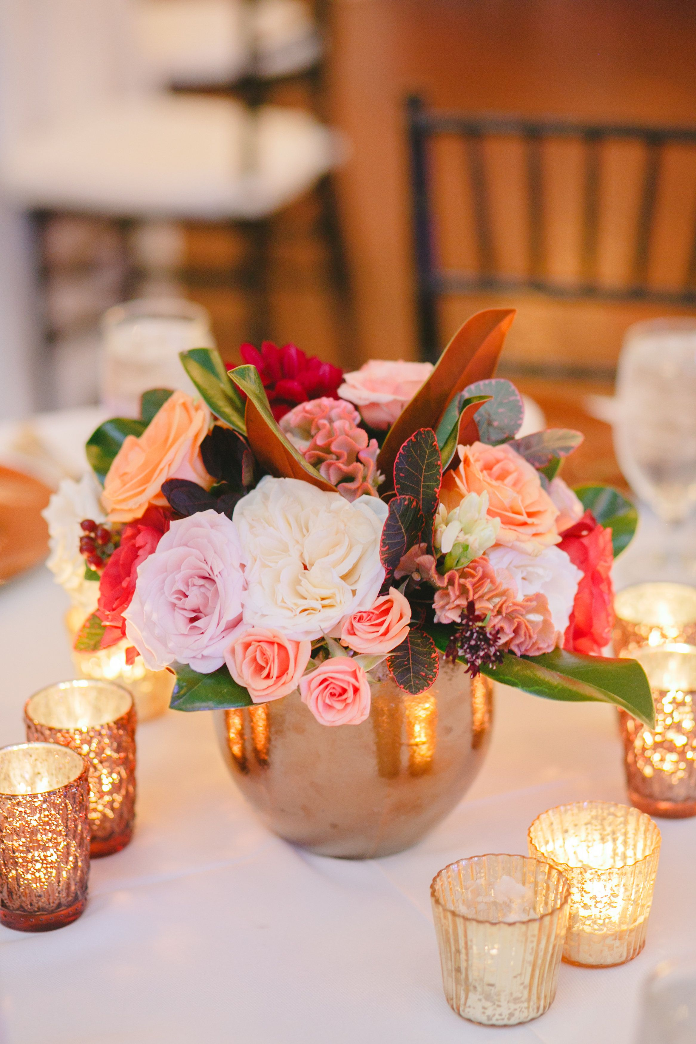 Peach blush burgundy ivory centerpiece