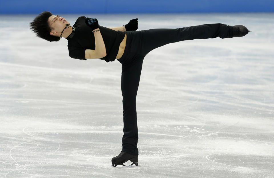 Yuzuru Hanyu of Japan practices during a training session at the Iceberg Skating Palace ahead of the 2014 Winter Olympics, Wednesday, Feb. 5...
