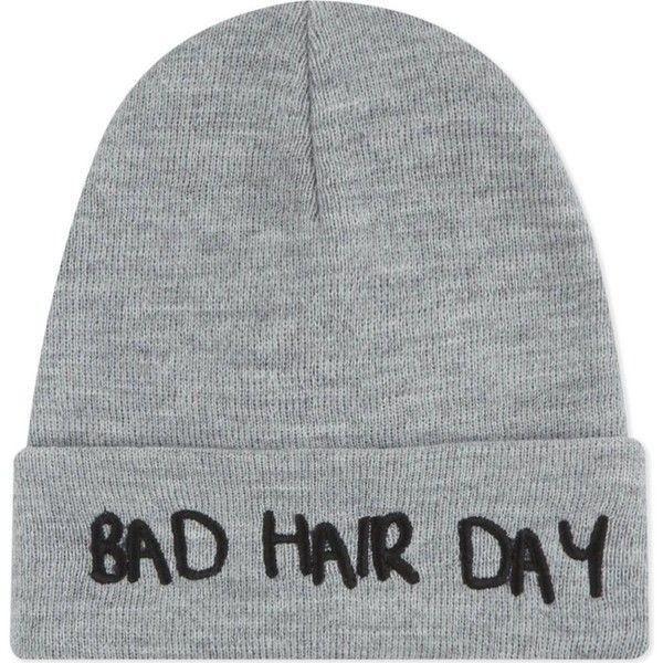 LOCAL HEROES Bad hair beanie (515 MXN) ❤ liked on Polyvore featuring accessories, hats, grey, beanie hats, grey beanie, gray hat, grey beanie hat and embroidered beanie