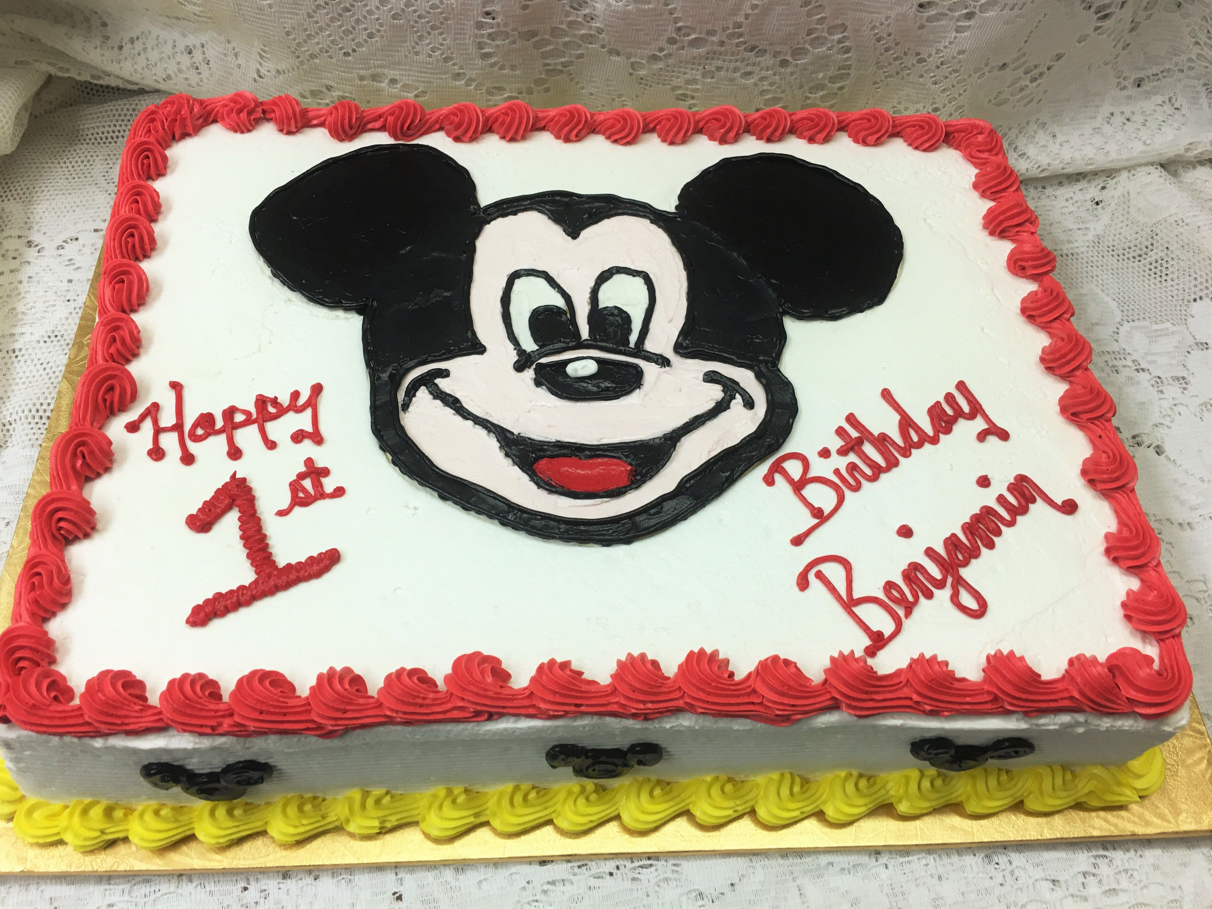 Mickey Mouse First Birthday Sheet Cake Mueller S Bakery Mickey