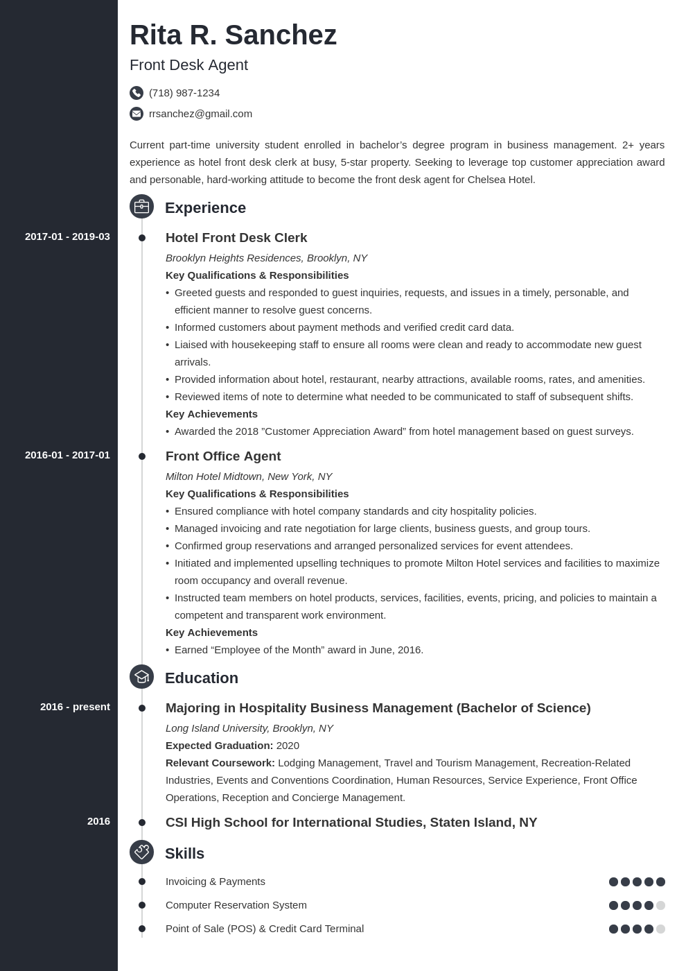 Front Desk Resume Example Template Concept Cv Examples Job Resume Examples Resume Examples