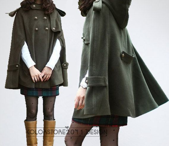 Army green cape Wool Cape Cashmere coat double breasted button coat winter  coat Hood cloak Hoodie cape Hooded Cape M,L