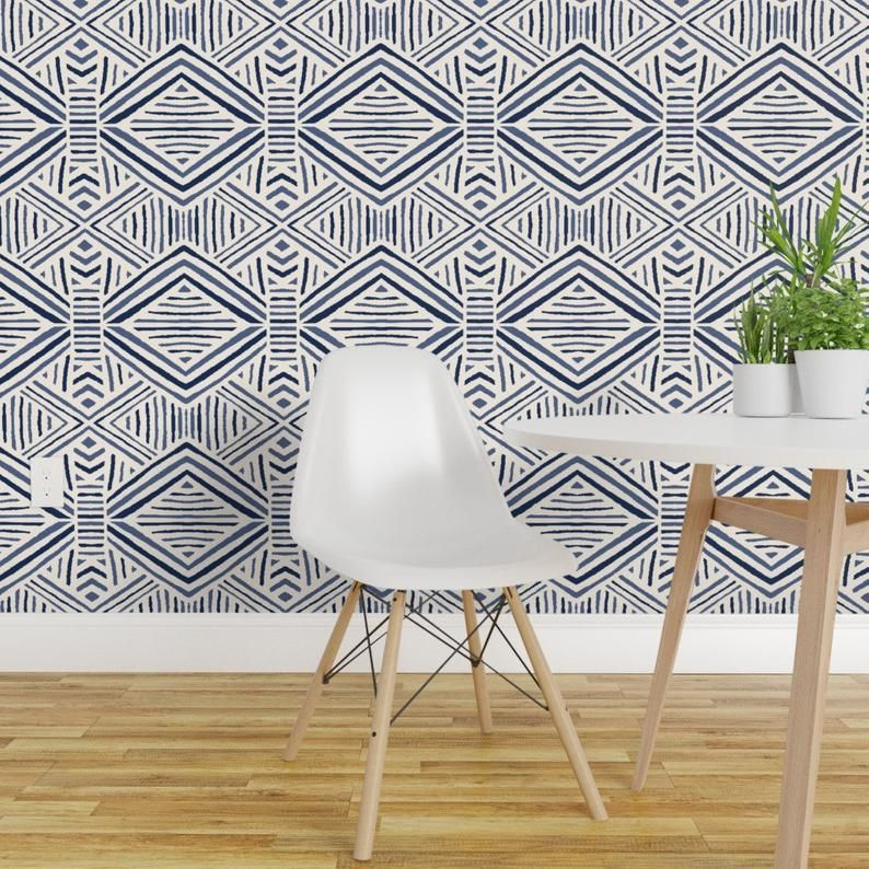 Tribal Geometric Wallpaper- Tribal Abstract Navy Blue By