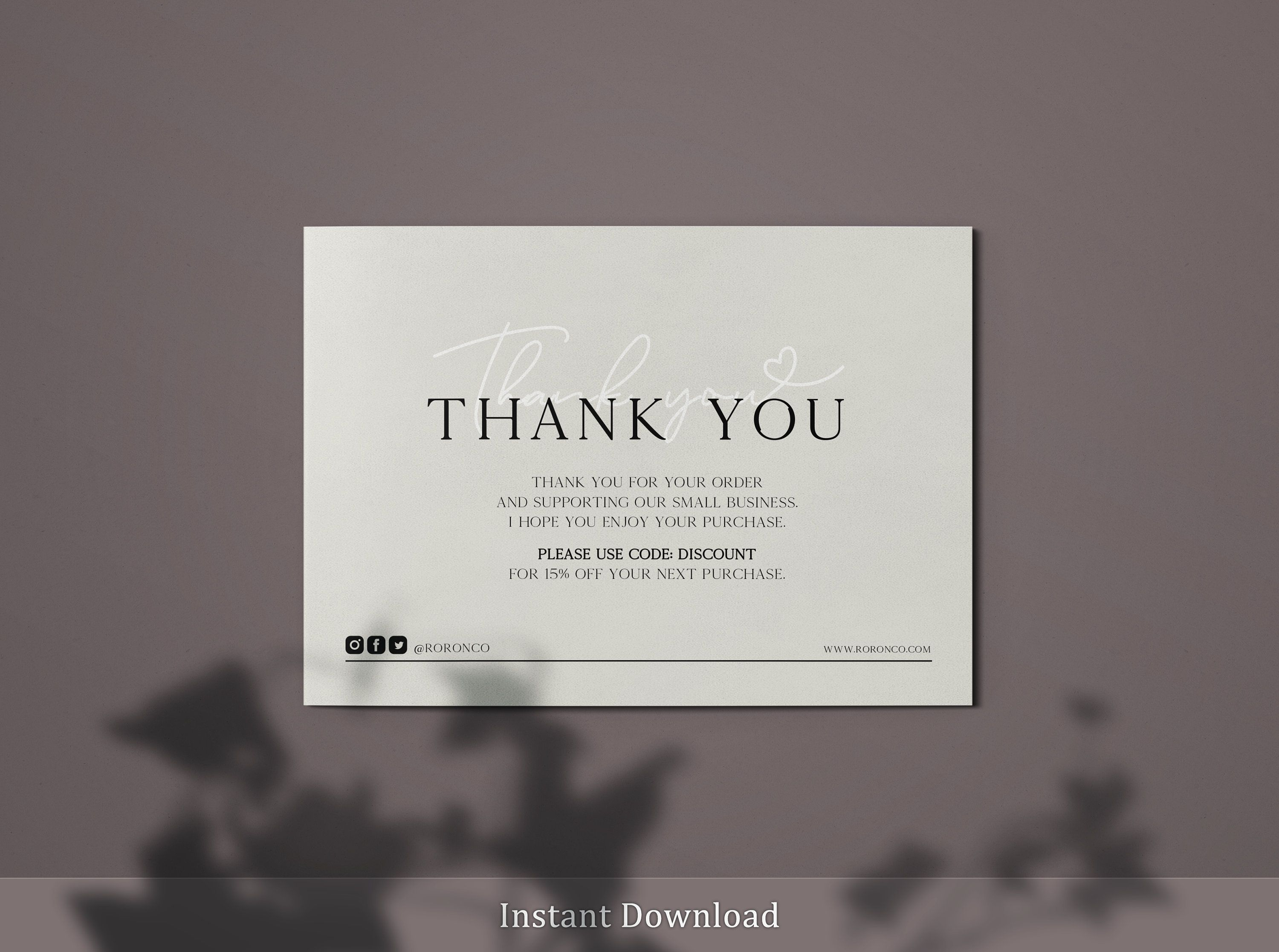 Creamy Business Thank You Card Template Etsy Seller Insert Etsy Business Thank You Cards Thank You Card Template Thank You Cards