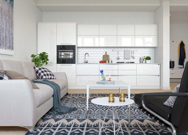 Decoración abierta Decoracion pisos pequeños, Cocinas abiertas y