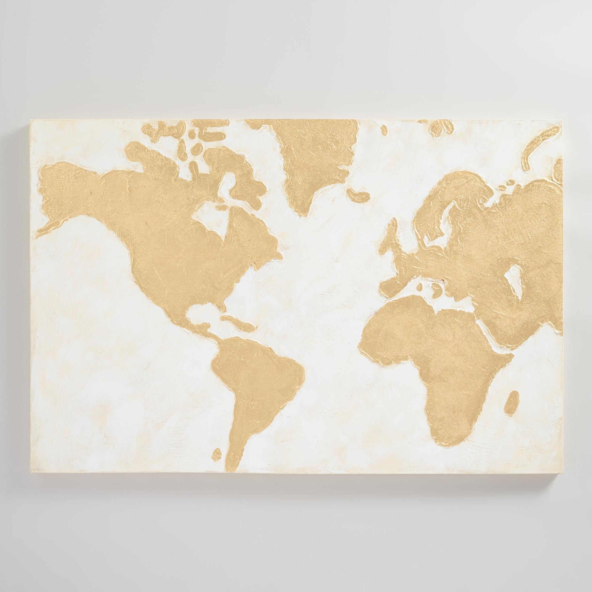 Gilded World Map Wall Art: White - Canvas - Large by World Market ...