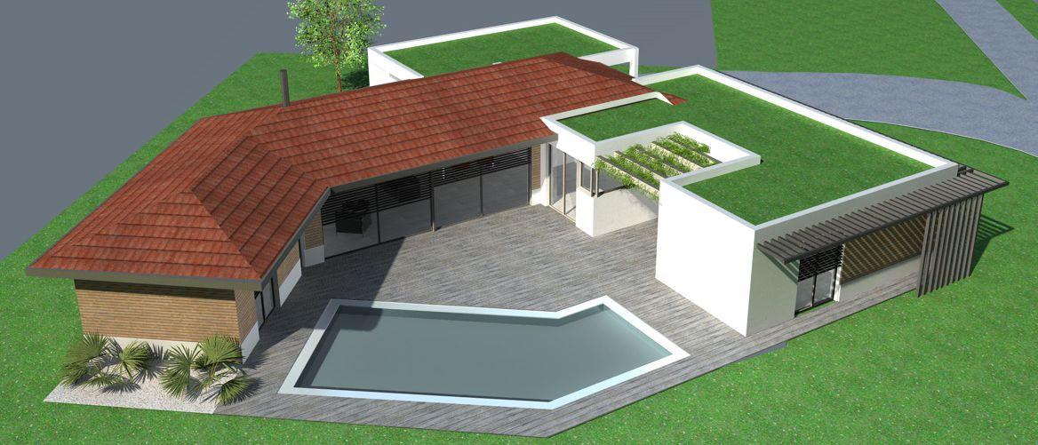 Maison contemporaine mix toit tuiles et terrasse végétalisée - maison bois en kit toit plat
