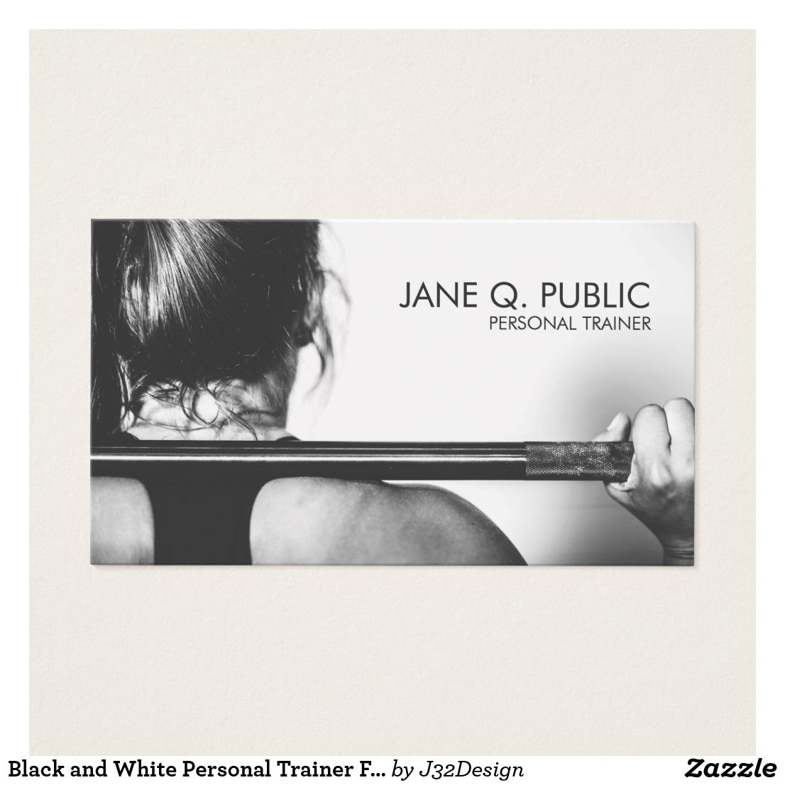 Black and White Personal Trainer Fitness Training Business Card ...