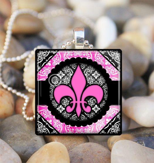 Glass Tile Necklace  Designer Damask  Fleur de by Cre8ionNa8ion, $7.50