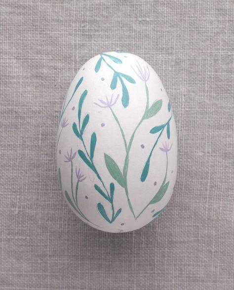 Purple Flowers - Painted Egg