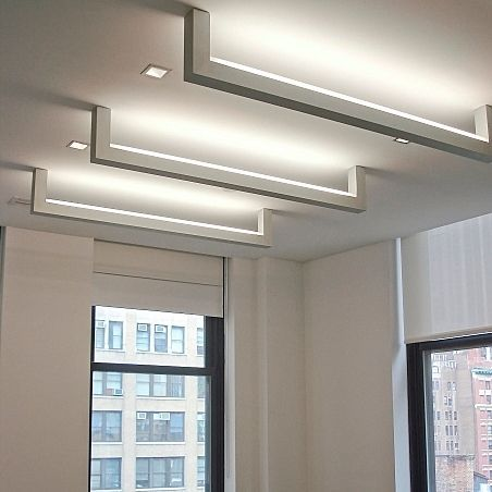Linear ceiling mounted fluorescent luminaire for offices ladder architectural lighting works
