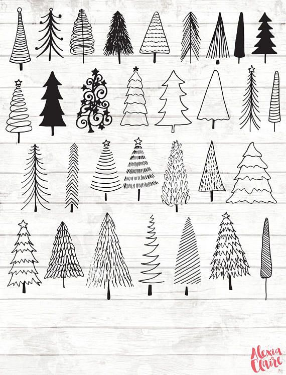 Christmas tree clipart christmas clipart christmas planner stickers christmas tree - Weihnachtsbaum arten ...
