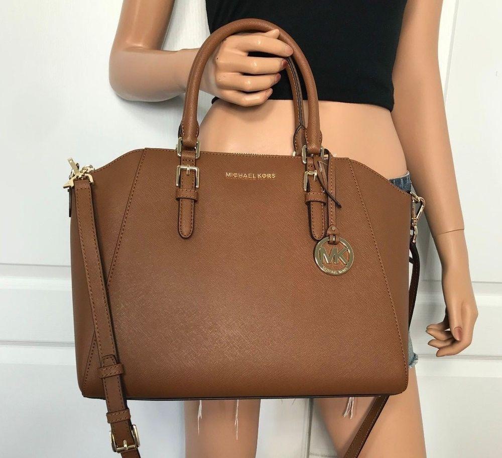 60581d1acc3 NWT Michael Kors Large Satchel Bag Handbag Brown Leather Signature Tote   398  MichaelKors  ShoulderBag