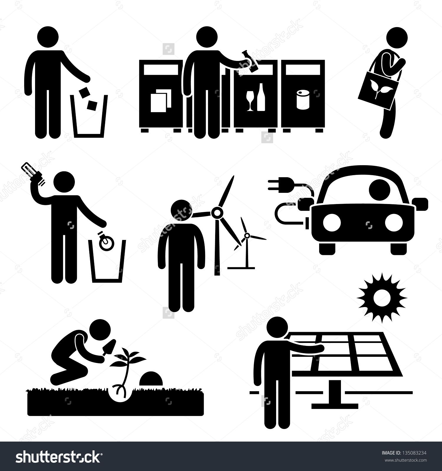 Https Image Shutterstock Com Z Stock Vector Man People Recycle Green Environment Energy Saving Stick Figure Pictogram Icon Pictogram Stick Figures Recycling