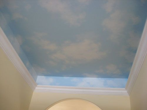 Ceiling sky nursery pinterest ceilings playrooms for Cloud mural ceiling