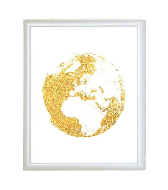 Gold faux foil world map globe minimalist by atimeandplacedesign gold faux foil world map globe minimalist by atimeandplacedesign gumiabroncs Choice Image