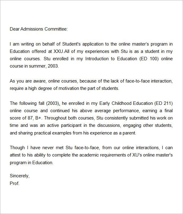 Letter Of Recommendation For Master Degree Letters