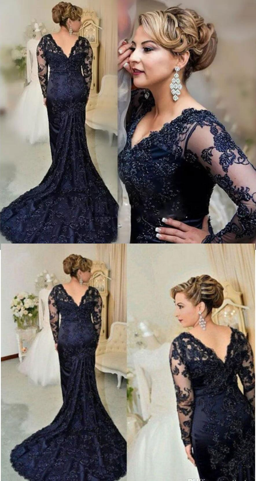 V Neck Navy Blue Mother Of The Bride Dress With Long Sleeves Appliques Navy Blue Wedding Dress Mother Of Bride Outfits Mother Of The Bride Dresses [ 1663 x 885 Pixel ]