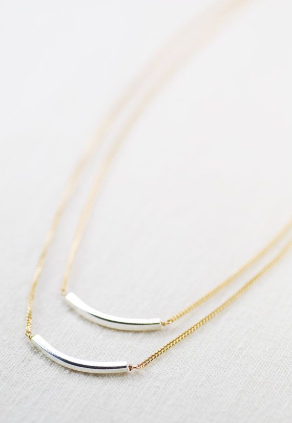 Maluhia necklace  double layered silver and gold