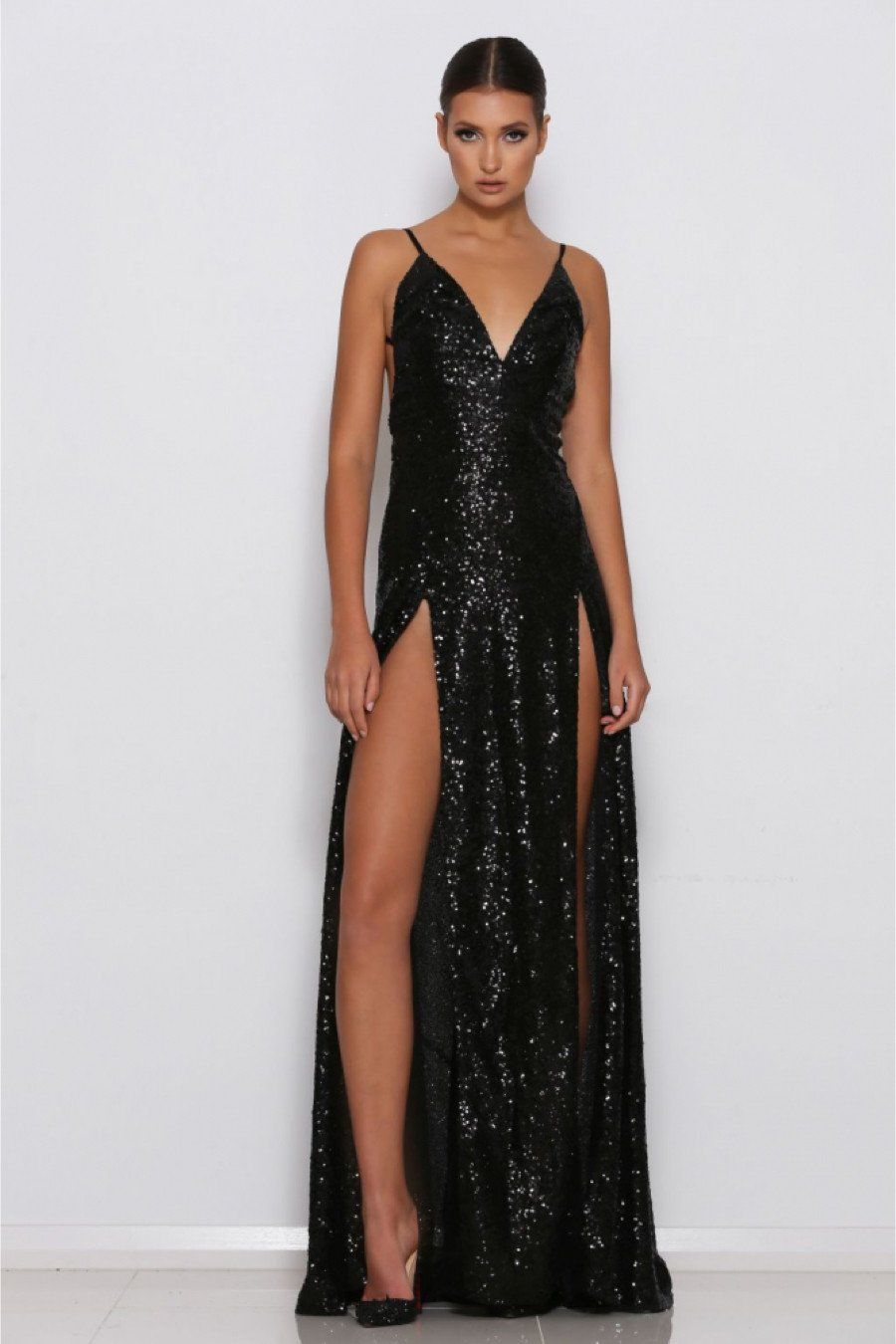 Chloe Sequin Backless Gown - Black | Backless gown, Sequins and ...