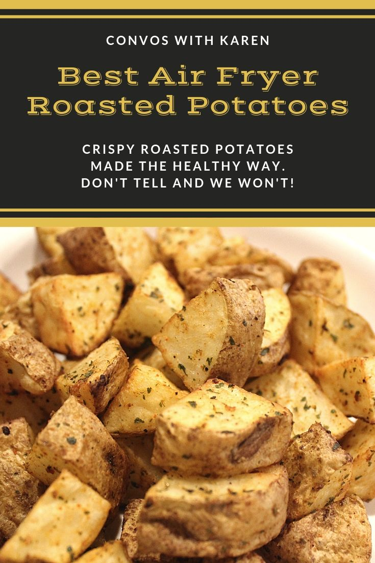 Healthy, easy air fryer roasted potatoes are a great side dish made with russet potato cubes. #russetpotatorecipes