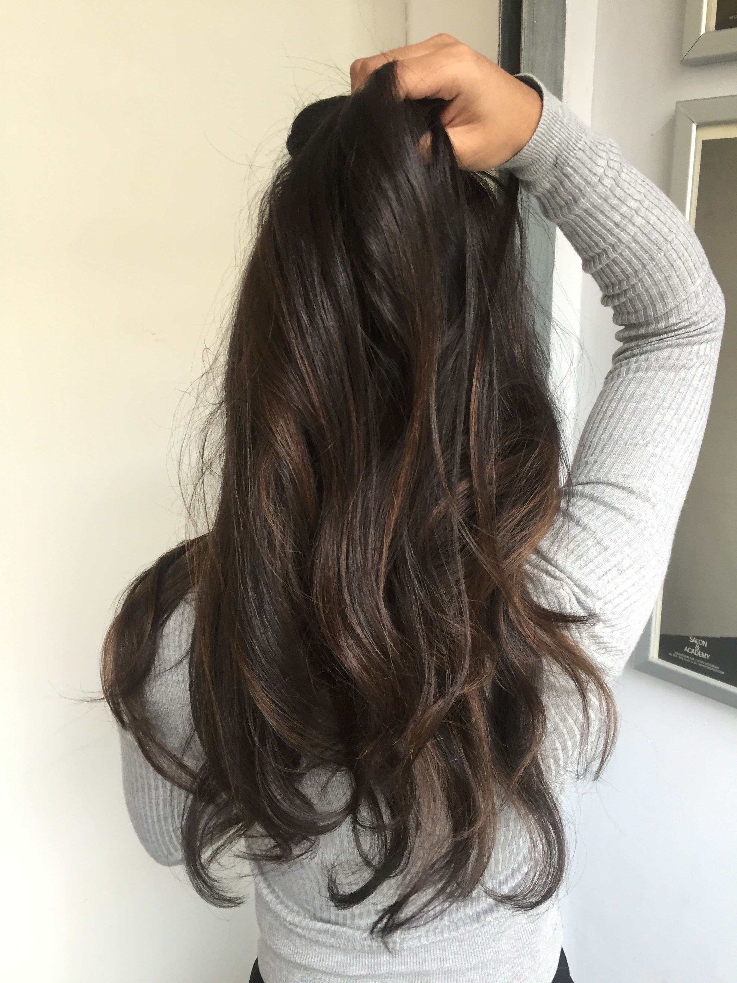 Bayalage Dark Brown Hair Indian Black Hair Balayage Hair Highlights Indian Hair Color
