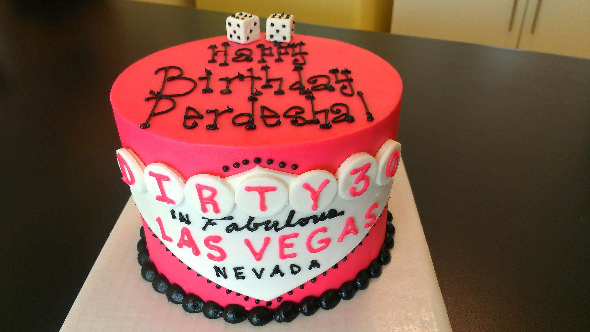 Vegas Dirty 30 In Pink And Black With Dice Birthday Cake Vegas