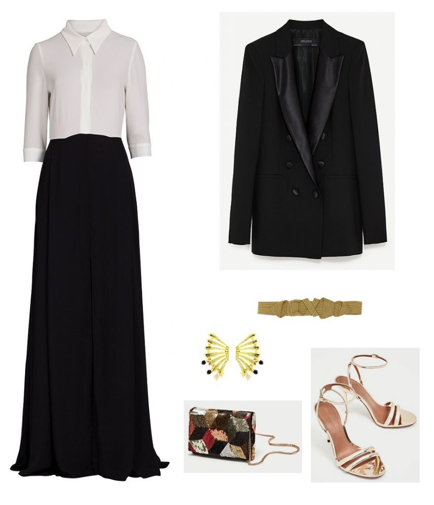 Time for Fashion. White and black maxi dress+golden ankle strap heeled sandals+black blazer+colorfull sequinned clutch+golden belt+gold earrings. Fall Evening Wedding Guest Outfit 2017