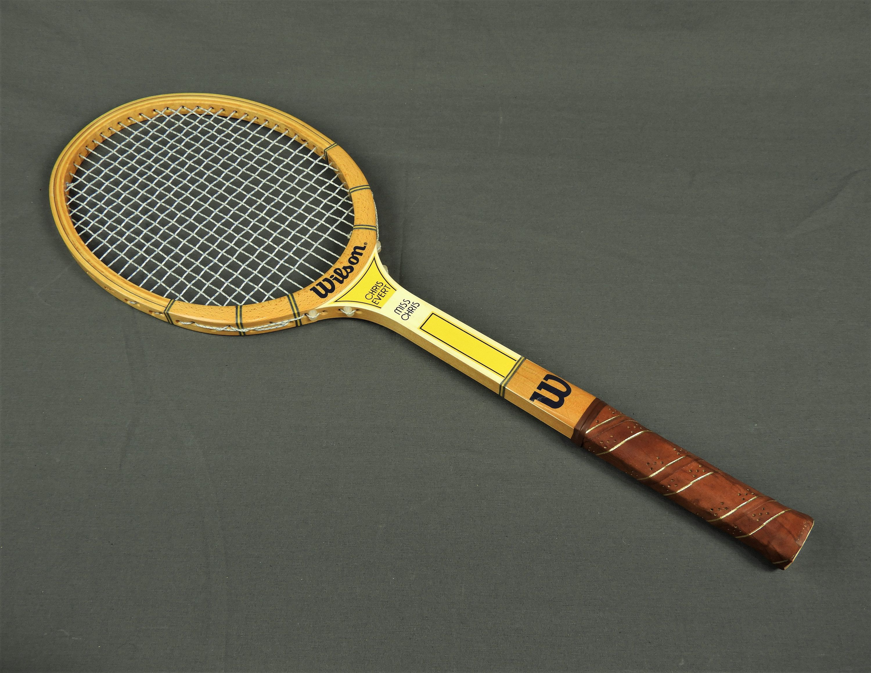 Vintage Tennis Racquet Chris Evert Wilson Miss Chris Brown Leather Wrapped Handle Birds Eye Maple Wood Home Decor Sports Collectible Vintage Tennis Chris Evert Wilson Tennis Racquets