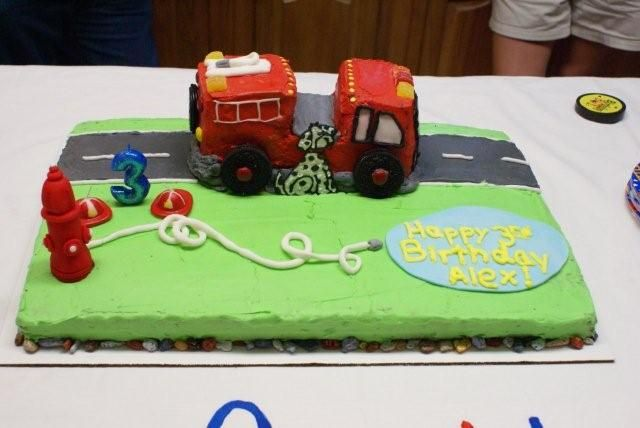 Birthday Cakes For Dogs In Massachusetts ~ Fire truck cake: sheet cake covered in buttercream. loaf pans put
