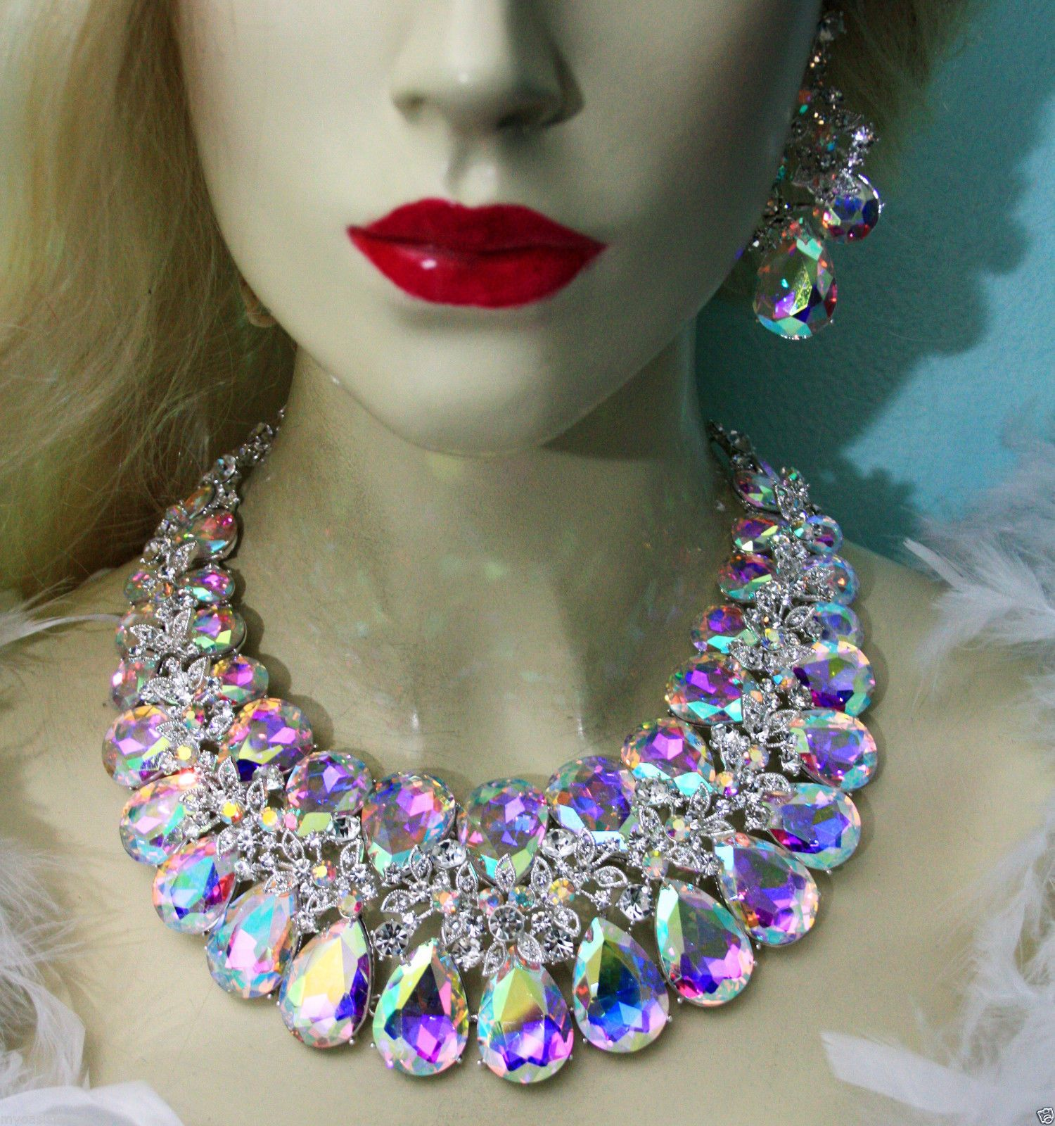 AB Large Necklace Earring Set Rhinestone Crystal Pageant Drag Queen