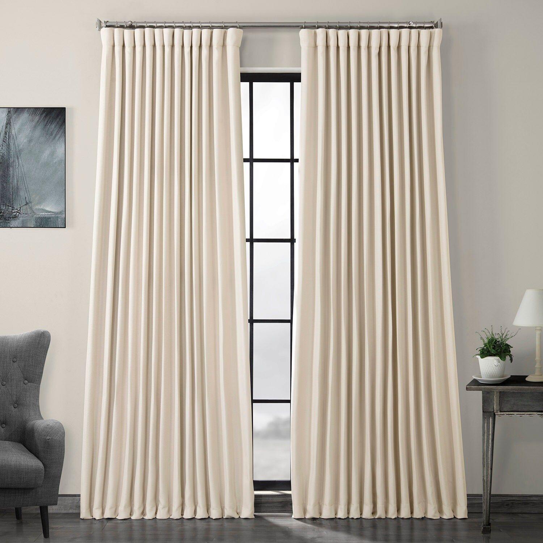 Birch Faux Linen Extra Wide Blackout Room Darkening Curtain In