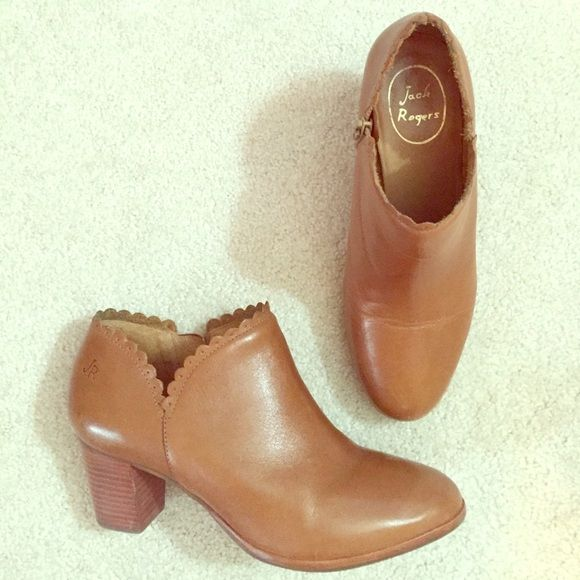 Jack Rogers Marianne Boot Jack Rogers Marianne bootie. Oak brown leather, stacked heel, scalloped edges. Size 7. Comes with original box and tissue paper. Jack Rogers Shoes Ankle Boots & Booties