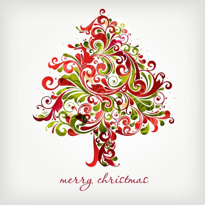 name floral swirls tree for christmas vector graphic homepage vector graphics license creative commons attribution file type eps this image is a