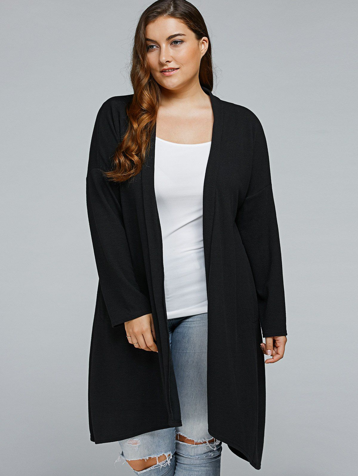 c34f88e5ff2  13.54 Plus Size Asymmetric Long Cardigan