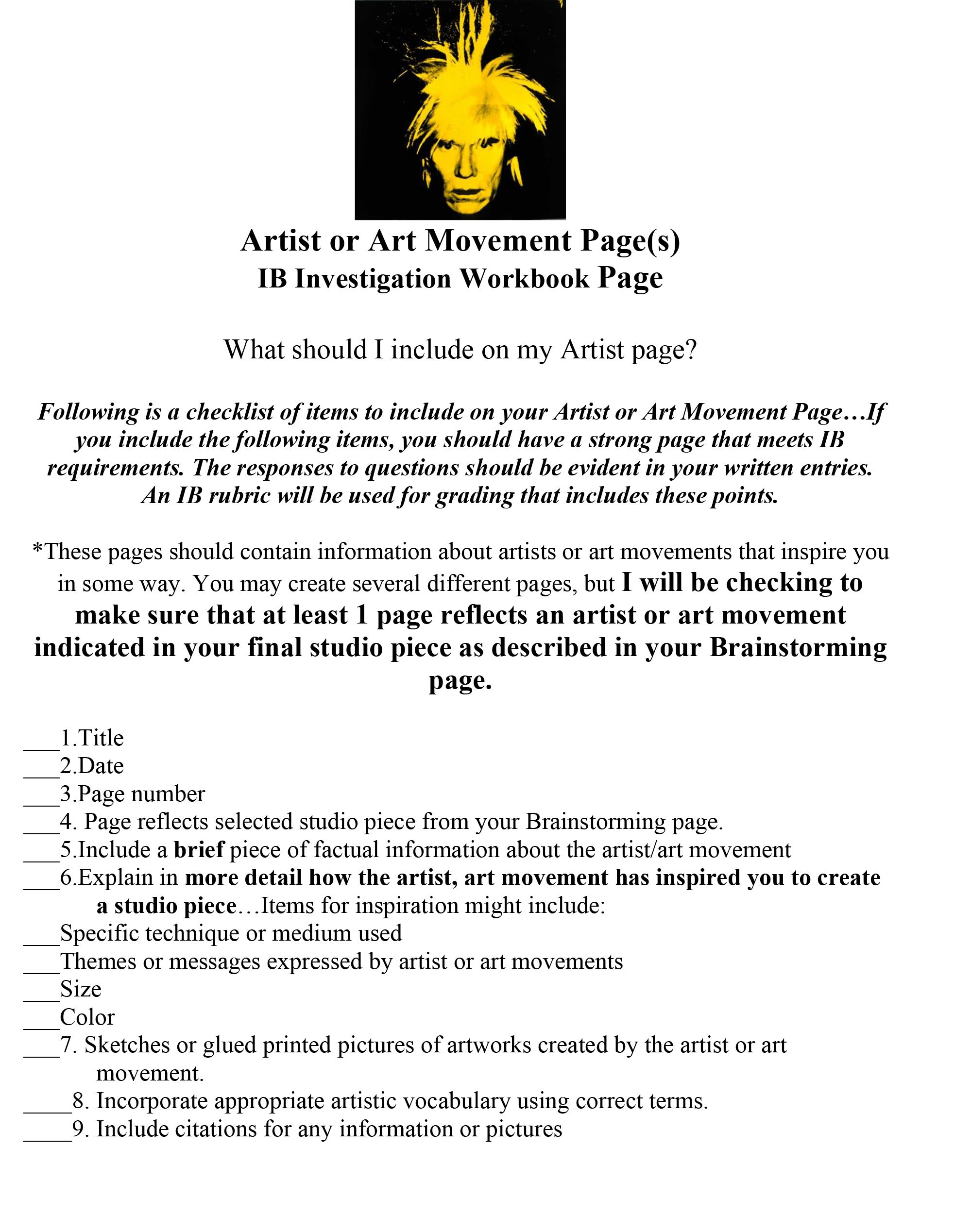 Artist Page Guideline For Iwb