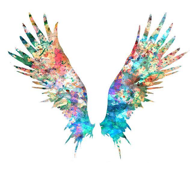 Angel Wings Art Print Colorful Watercolor Painting por ...