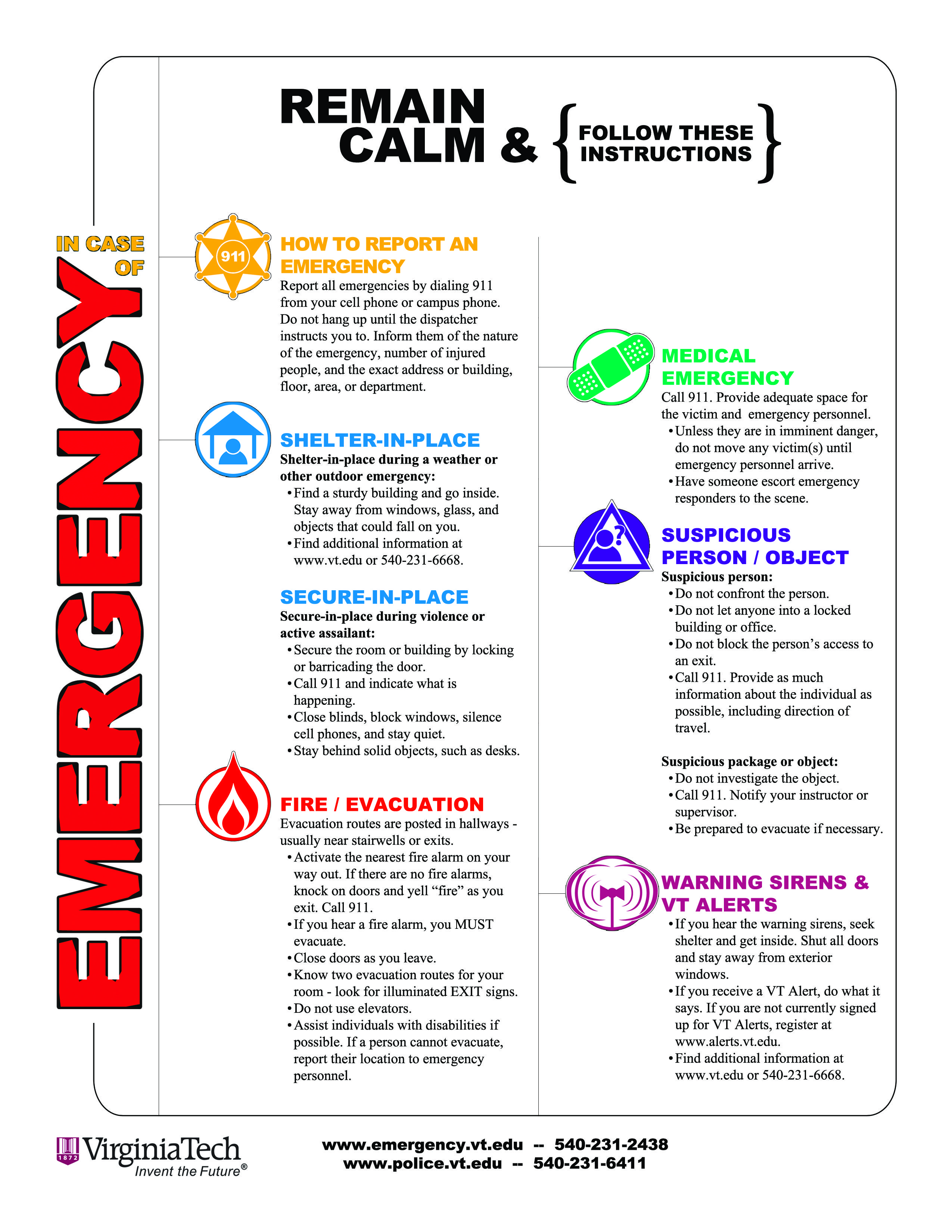 Minimalist Classroom Management ~ A handout version of our quot in case emergency poster
