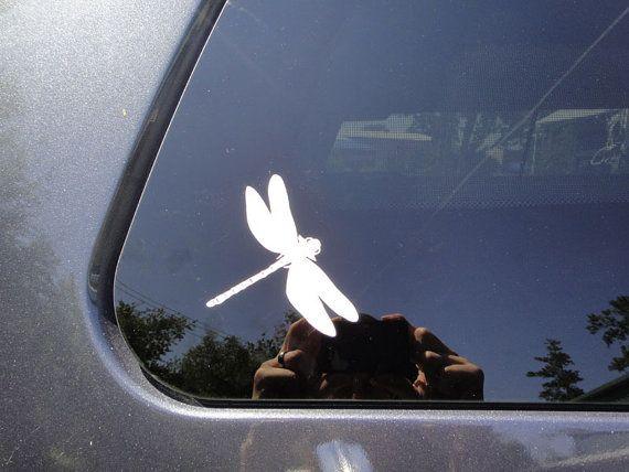 Dragonfly car sticker- tan line sticker