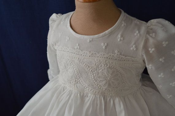 ae3a6da4 Christening gown for boys and girls, hand made with swiss cotton ...