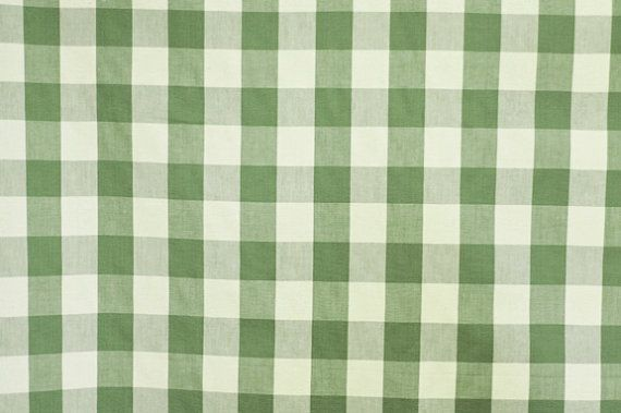 Green and White Plaid Heavyweight Drapery Upholstery Fabric    Heavy weight cotton or  cotton blend green and white plaid drapery / upolstery