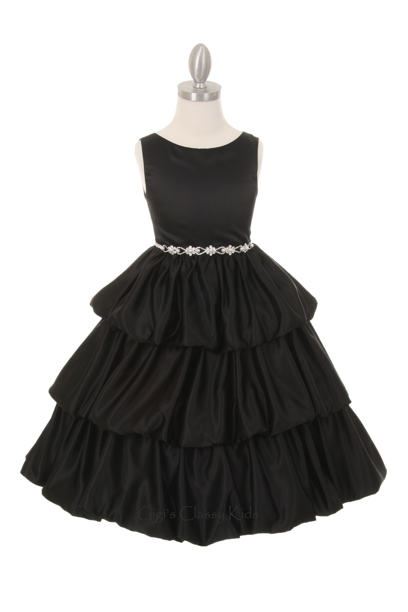 Classic Flower Girl Dull Satin Dress Available In Black Ivory