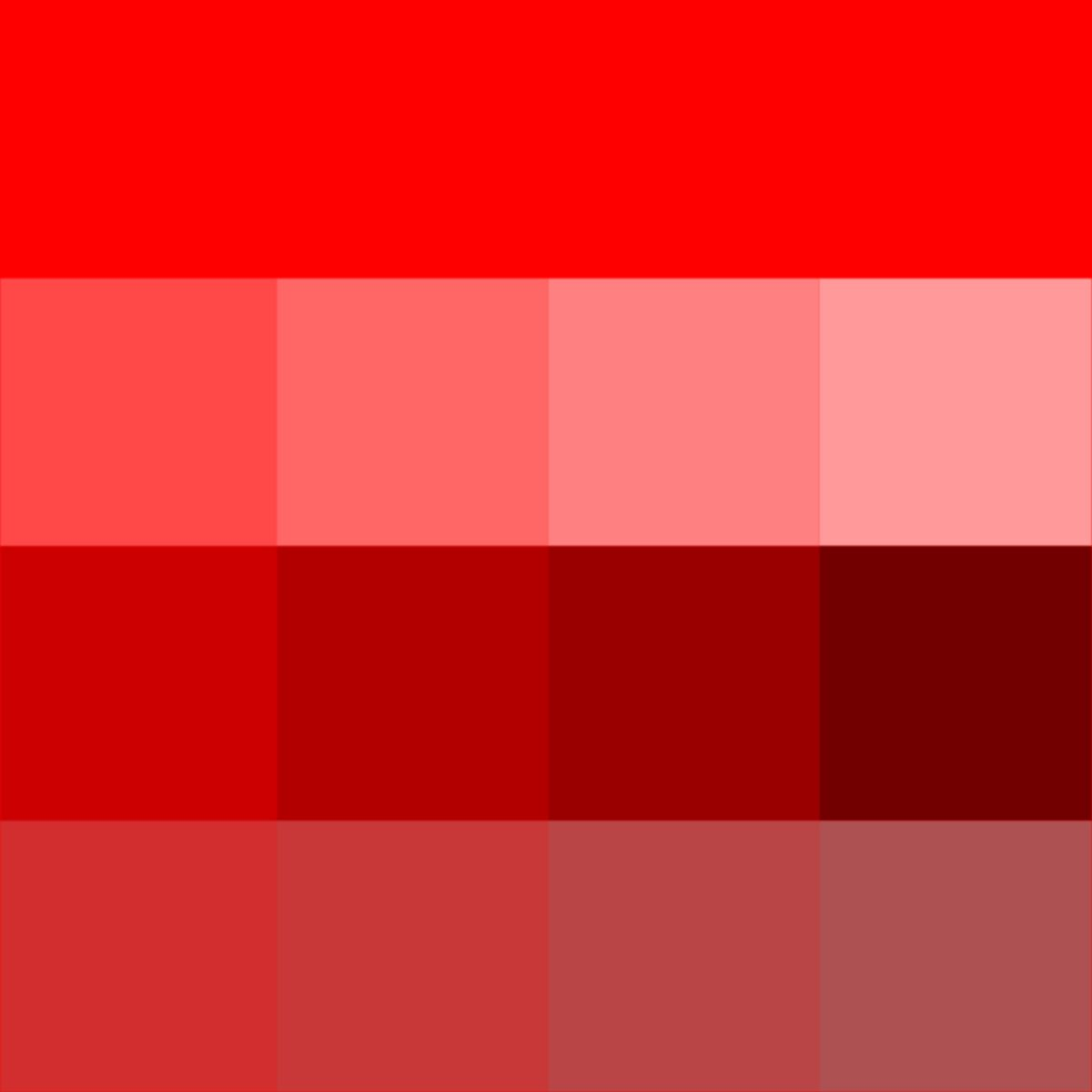 Red Hue Tints Shades Amp Tones Hue Pure Color With