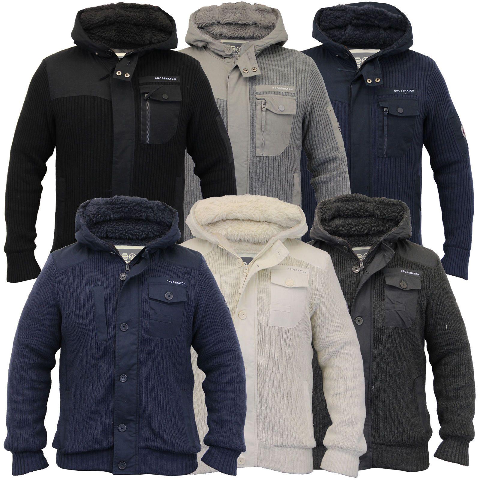 mens jacket crosshatch coat knitted hooded top sherpa fleece